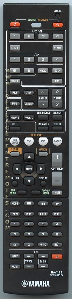 Buy yamaha rav432 ww510400 audio video receiver remote for Yamaha remote control app