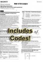 RMV701/801 & CodesOM