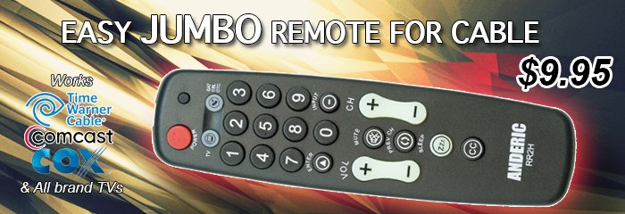 jumbo senior easy tv and cable remote