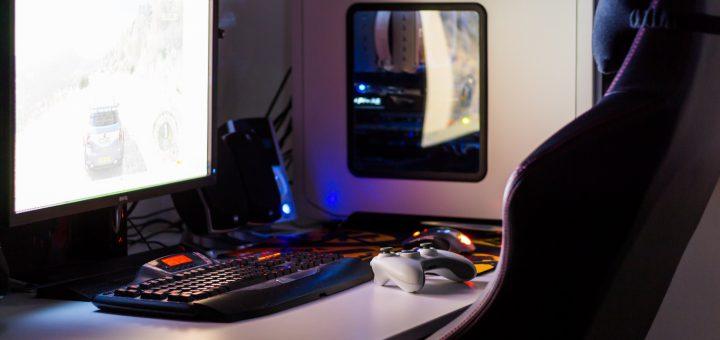 desktop gaming computer setup