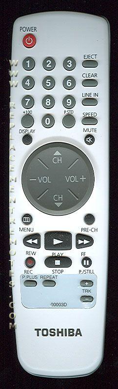 TOSHIBA 00003D TV/VCR Combo Remote Control