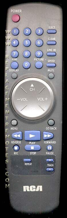 RCA 00003E VCR Remote Control