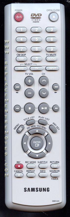 SAMSUNG 00012H DVD Player Remote Control