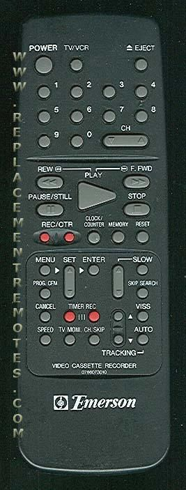 EMERSON 0766073010 VCR Remote Control