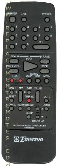 EMERSON 0766093050 VCR Remote Control