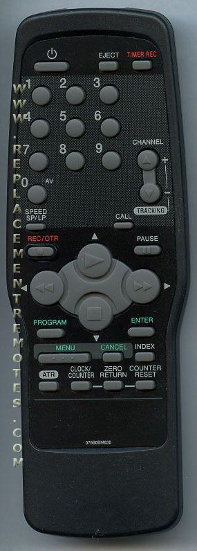 EMERSON 07660BM630 VCR Remote Control