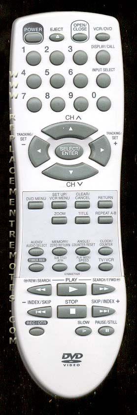 EMERSON 07660ET020 DVD/VCR Combo Player Remote Control
