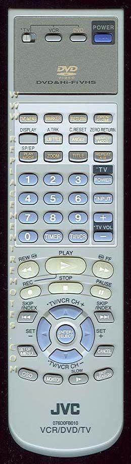 JVC 076D0FB010 TV/VCR/DVD Combo Remote Control
