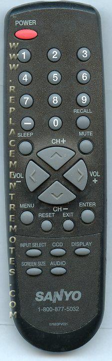 SANYO 076E0PV031 TV Remote Control