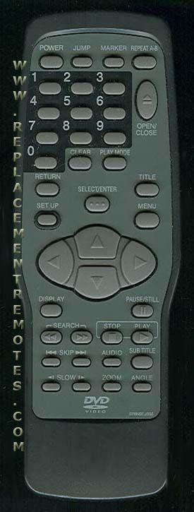 SANYO 076N0EJ050 DVD Player Remote Control