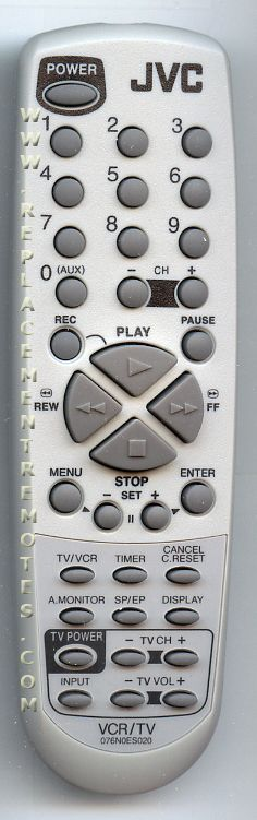 JVC 076N0ES020 TV/VCR Combo Remote Control
