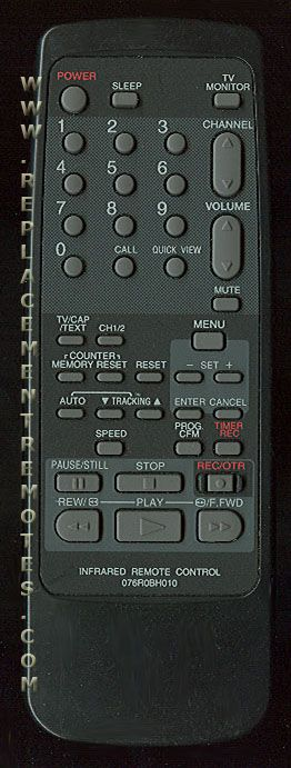 Buy BROKSONIC 076R0BH010 -076R0BH01 TV/VCR Combo Remote