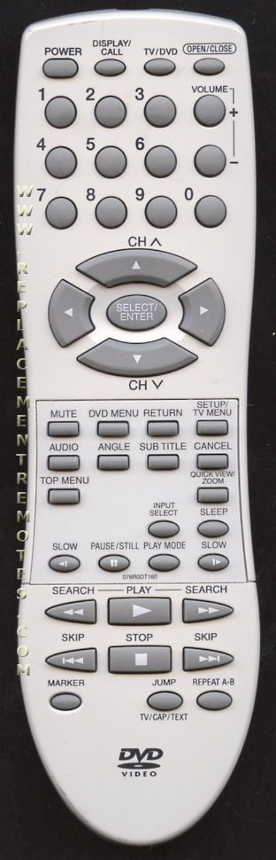 ORION 076R0DT160 TV/DVD Combo Remote Control