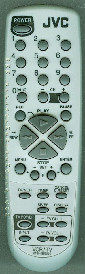 JVC 076N0ES030 TV/VCR Combo Remote Control