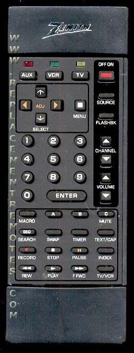 ZENITH 12416917 Remote Control
