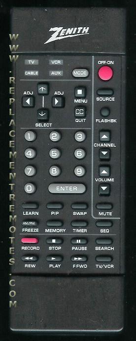 ZENITH 12419017 Remote Control