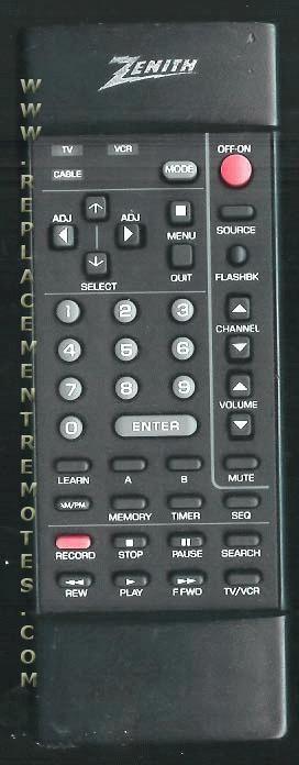 ZENITH 124191B TV Remote Control