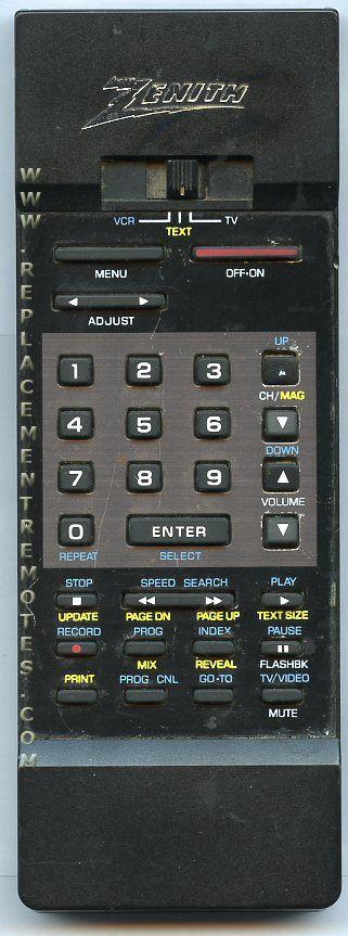 ZENITH 12414702 Remote Control