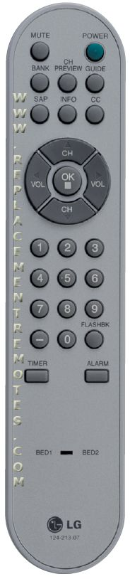 LG 12421308 Guest Commercial TV Remote Control