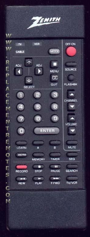 ZENITH MBR3420 TV Remote Control