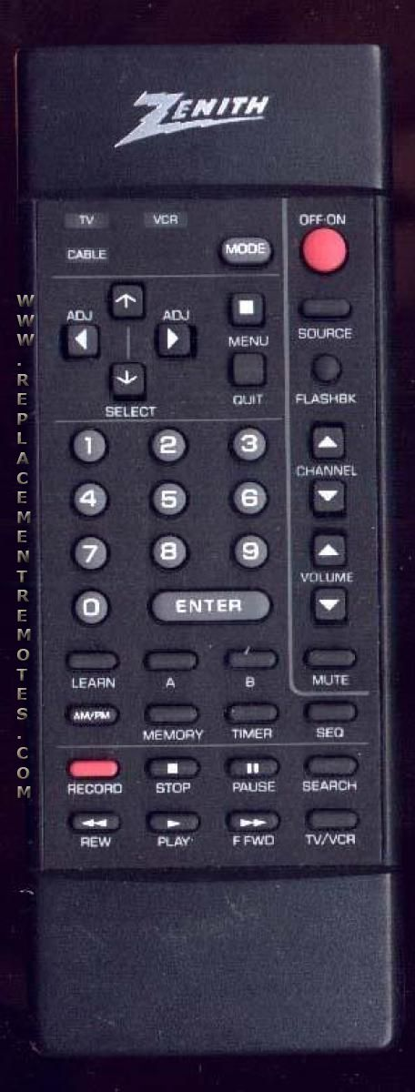 ZENITH 124191 TV Remote Control