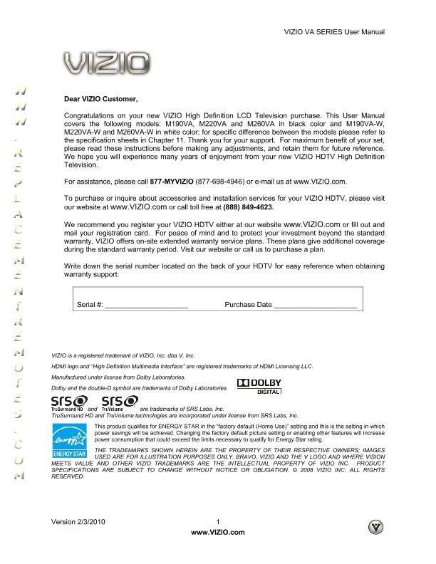 VIZIO M260VAOM Operating Manual