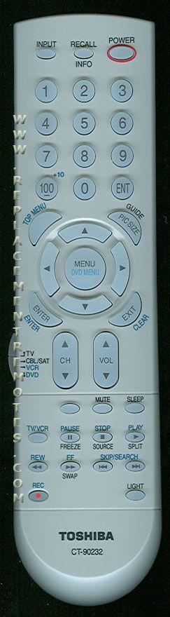 TOSHIBA CT90232 Remote Control
