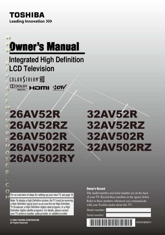 TOSHIBA 26AV502RZOM Operating Manual