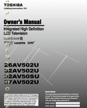 buy toshiba 26av502uom 26av502u 32av502u 32av50su operating manual rh replacementremotes com Toshiba 32C110U Toshiba 32 Inch HDTV