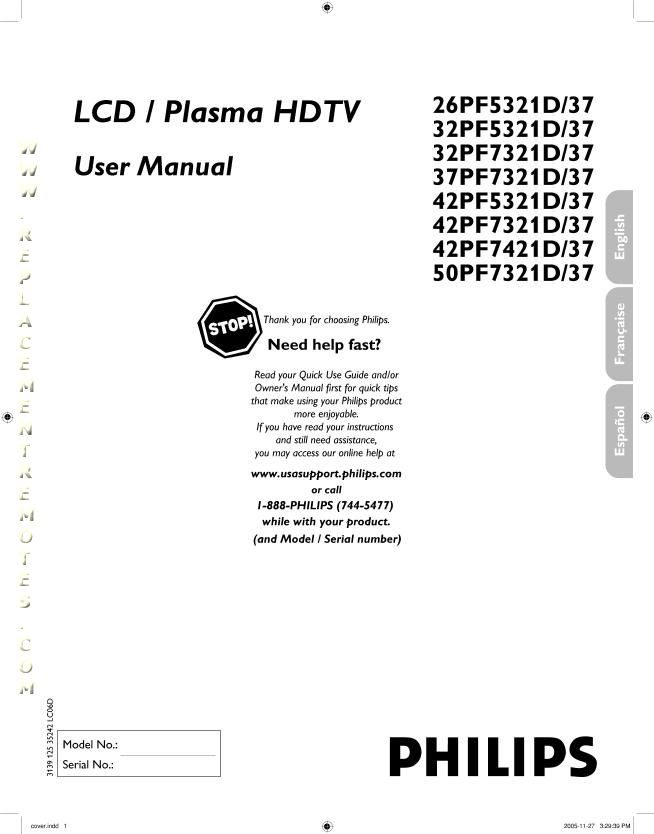 PHILIPS 26HF5334DOM Operating Manual
