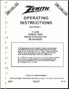 ZENITH CM148GXOM Operating Manual