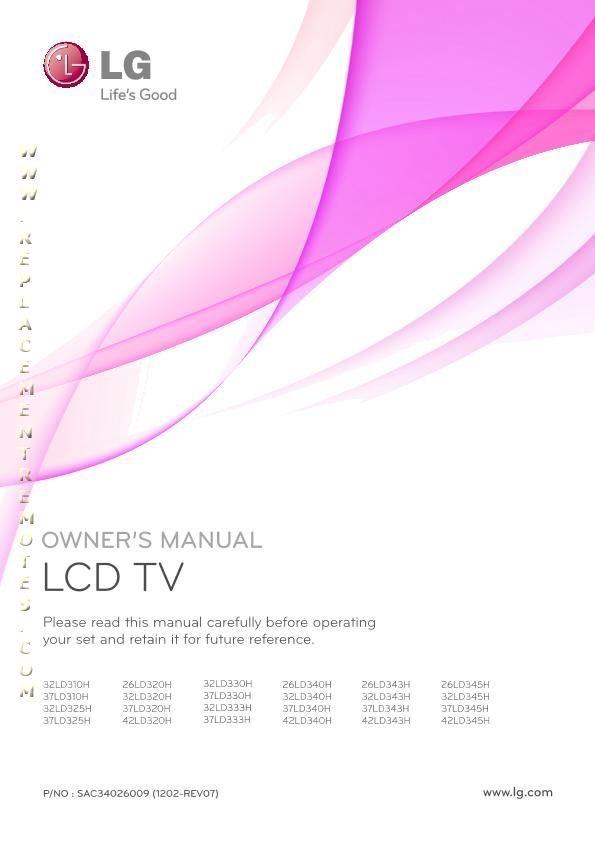 LG 32LD310HOM Operating Manual