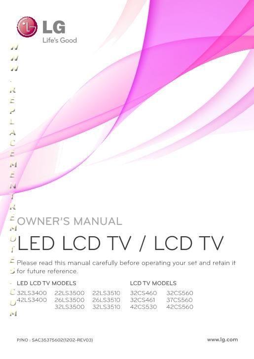 LG 32LS3400OM Operating Manual