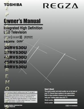 TOSHIBA 32RV530UOM Operating Manual