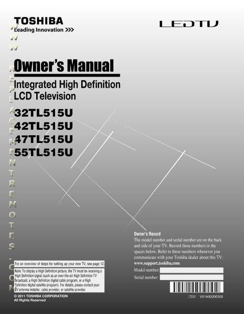 TOSHIBA 32TL515UOM Operating Manual