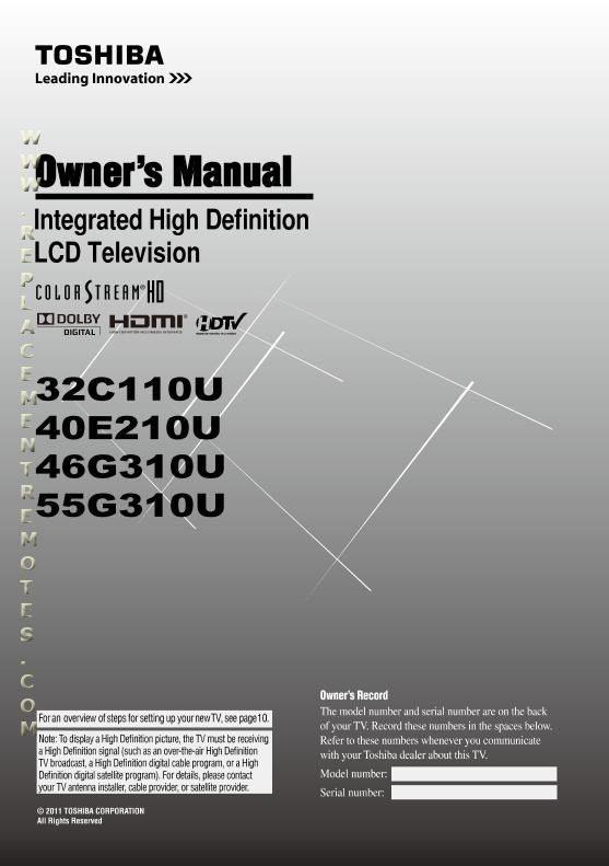 TOSHIBA 32C110UOM Operating Manual