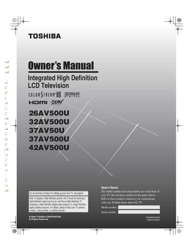 toshiba 37av500u manual