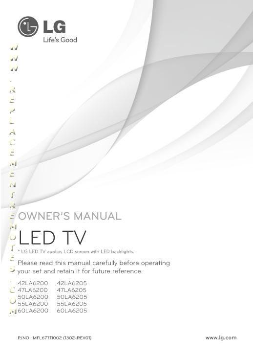 LG 42LA6200OM Operating Manual