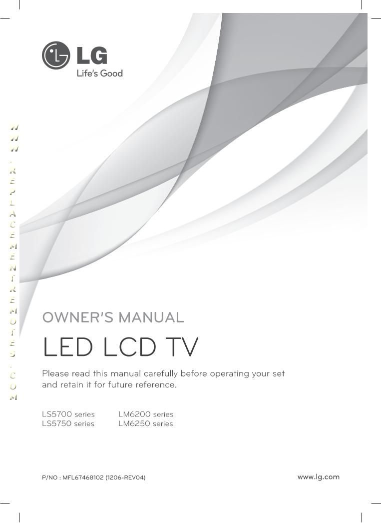 LG 42LS5700UAOM Operating Manual