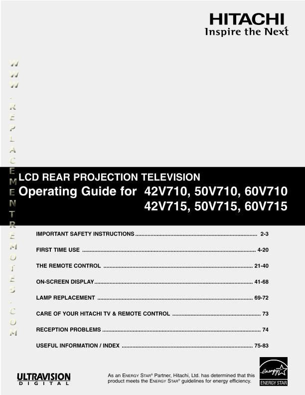 HITACHI 42V710OM Operating Manual
