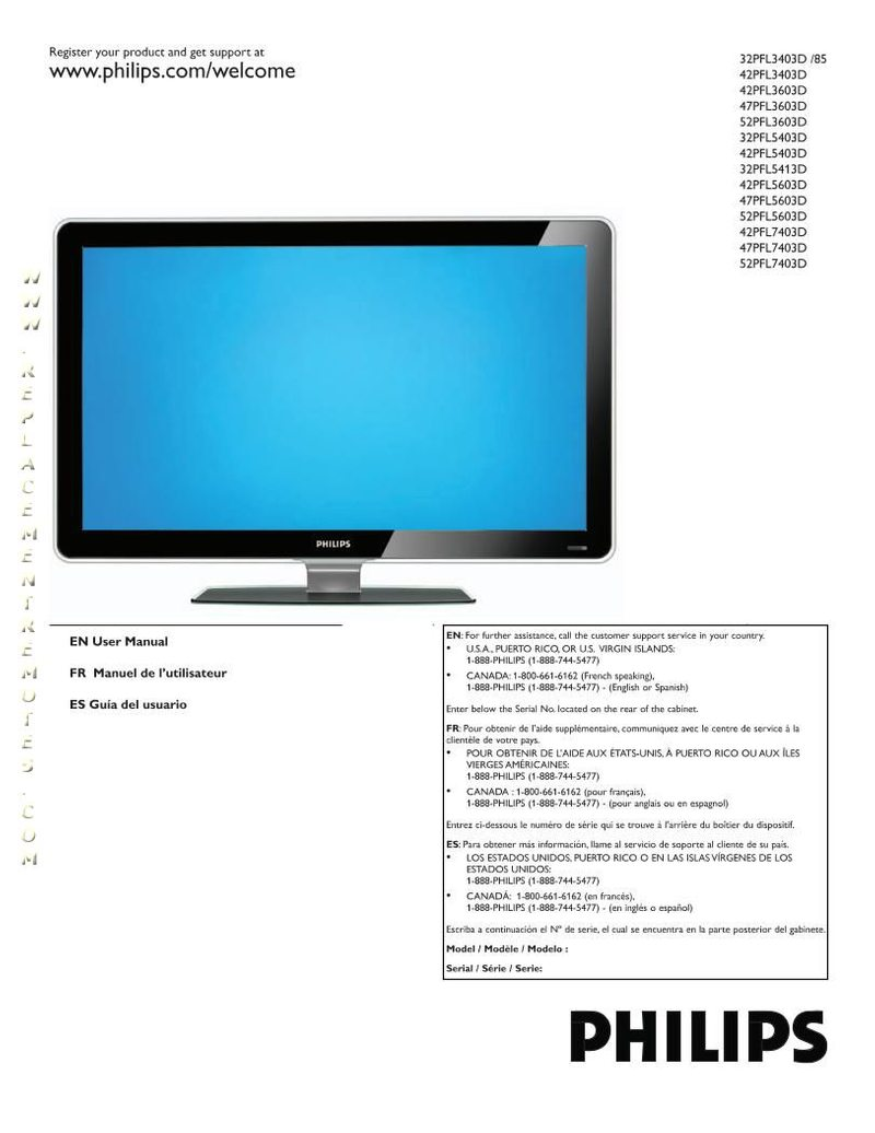 PHILIPS 42PFL3603DF7OM Operating Manual
