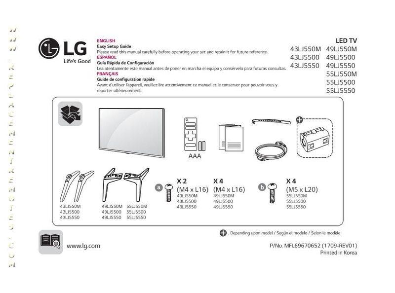 LG 43LJ5500UAOM Operating Manual
