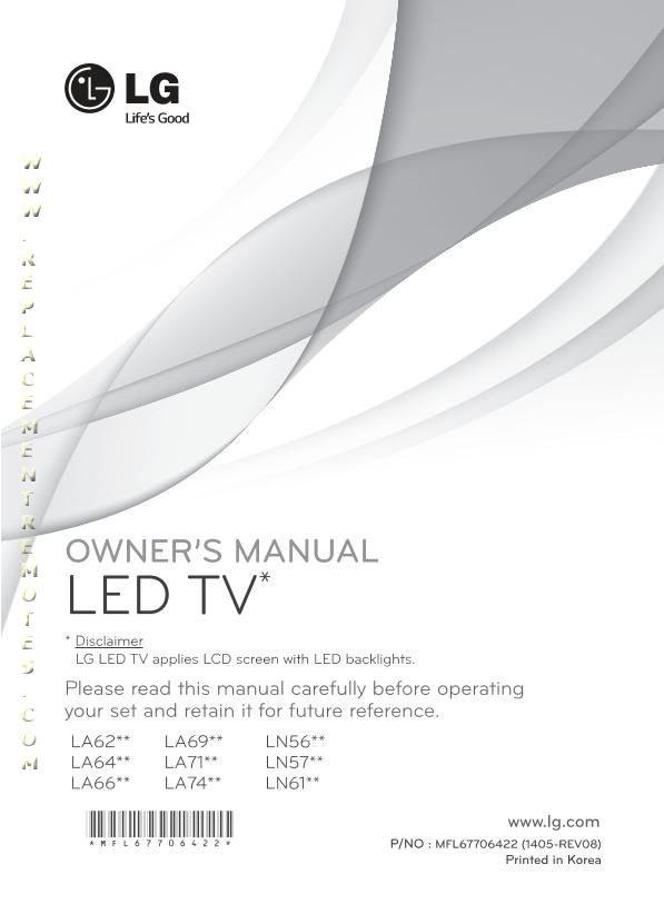 LG 47LA7400OM Operating Manual