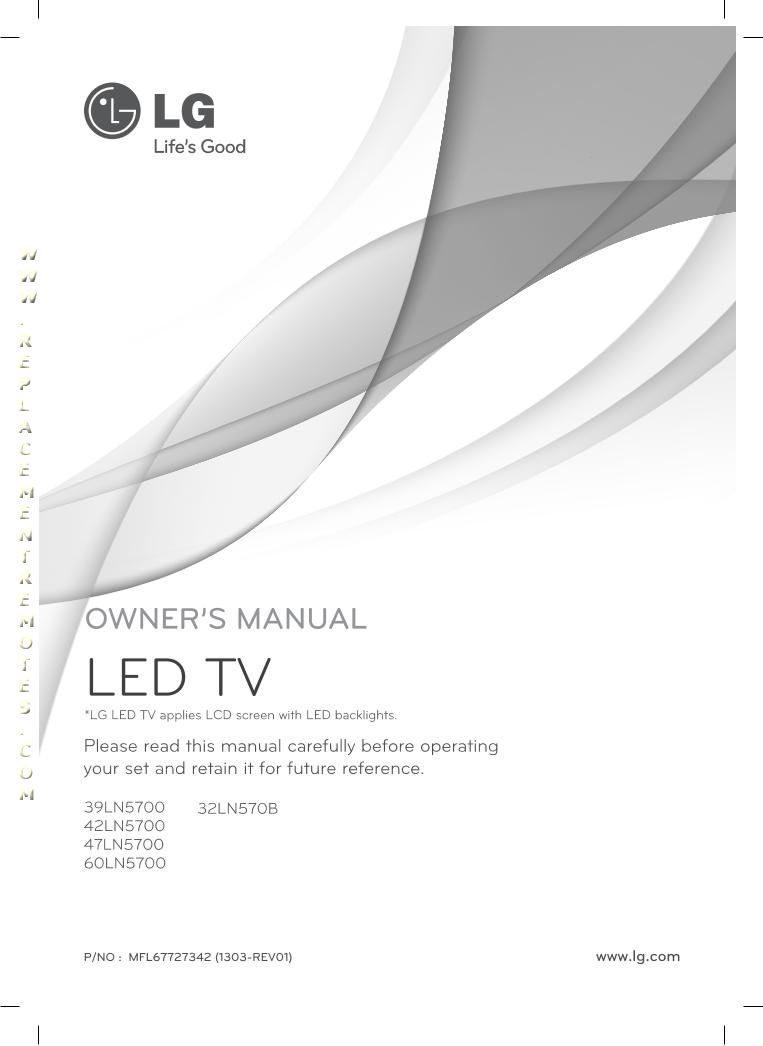LG 47LN5700UHOM Operating Manual