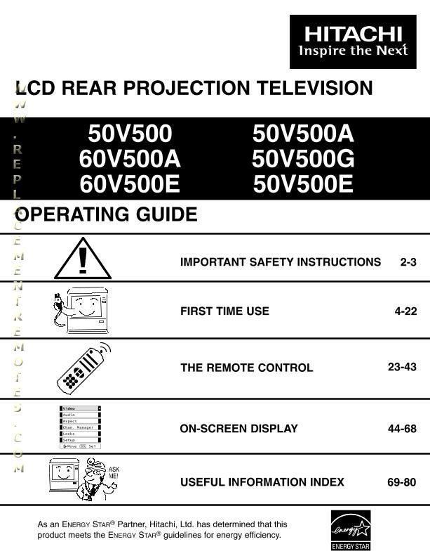 HITACHI 50V500OM Operating Manual