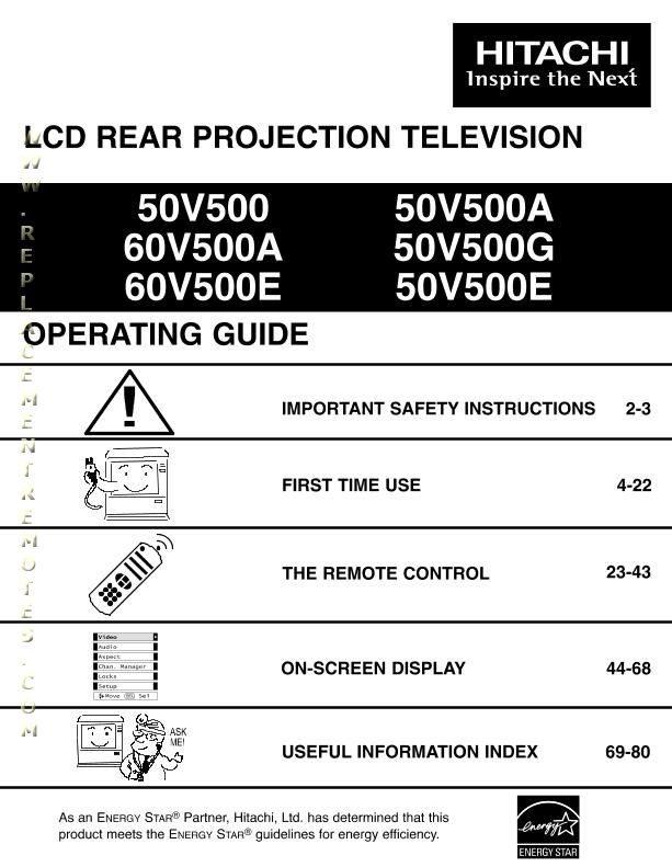 HITACHI 50V500OM Operating Manual