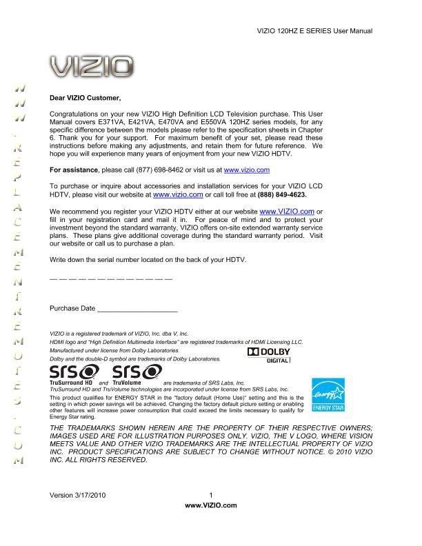 VIZIO E371VAOM Operating Manual