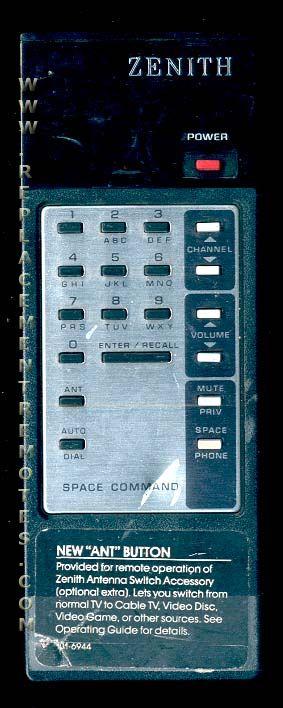 ZENITH 1016944 Remote Control