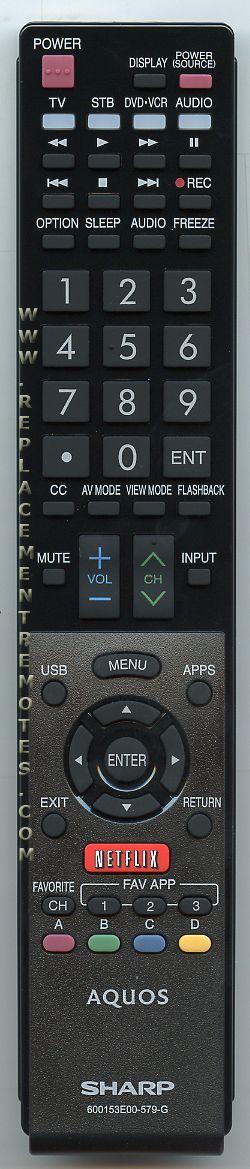 SHARP 600153E00579G Remote Control