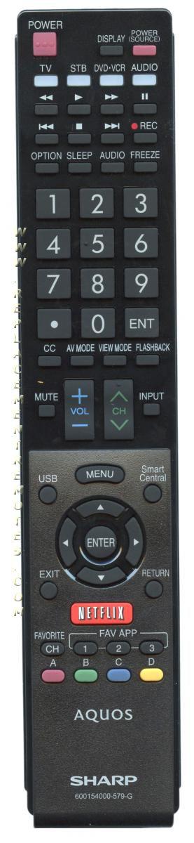 SHARP 600154000579G Remote Control